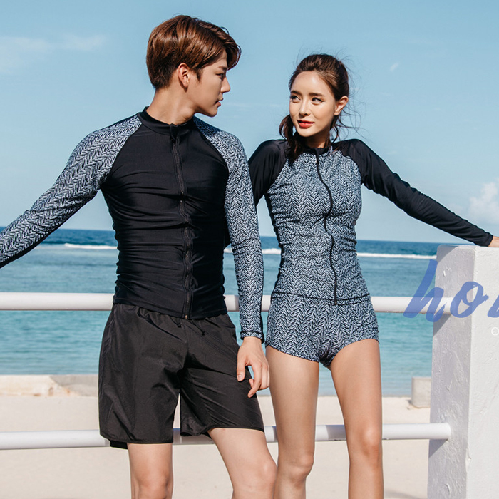 Rhyme Lady new design High Quality couple long sleeve Rash Guard Swimwear For Swimming And Surfing long sleeve long sleeve rashguard zipper print shirt and shorts 2 piece set dive skin swimwear rash guard swimming surfing suits