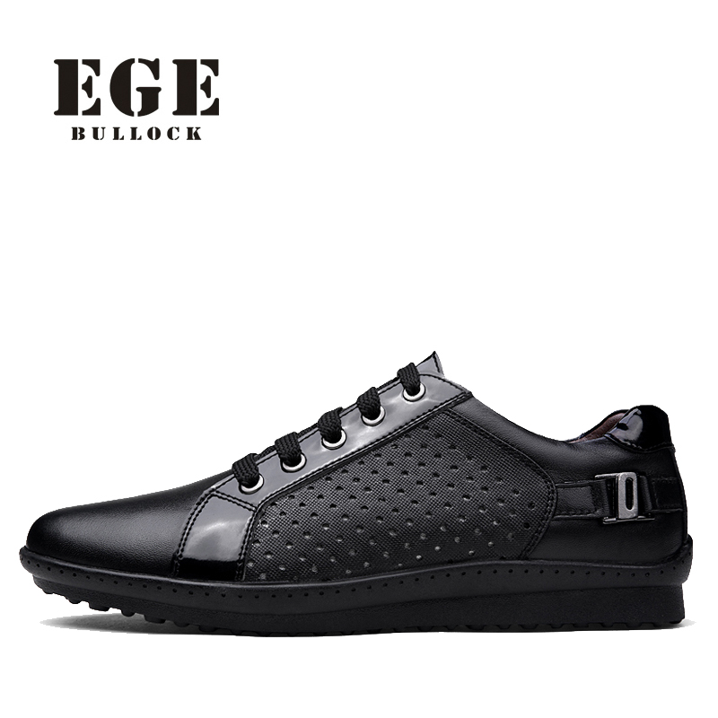 Men Casual Shoes EGE Brand Handmade Genuine Leather Breathable Male Flat Summer High Quality Lace-up Shoes for Men northmarch high quality men white leather shoes high top men s casual shoes breathable man lace up brand shoes