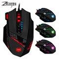 ZELOTES C-12 Проводная игровая мышь USB оптическая 12 программируемых кнопок компьютерные игровые мыши 40000 точек/дюйм регулируемые светодиодные фо...