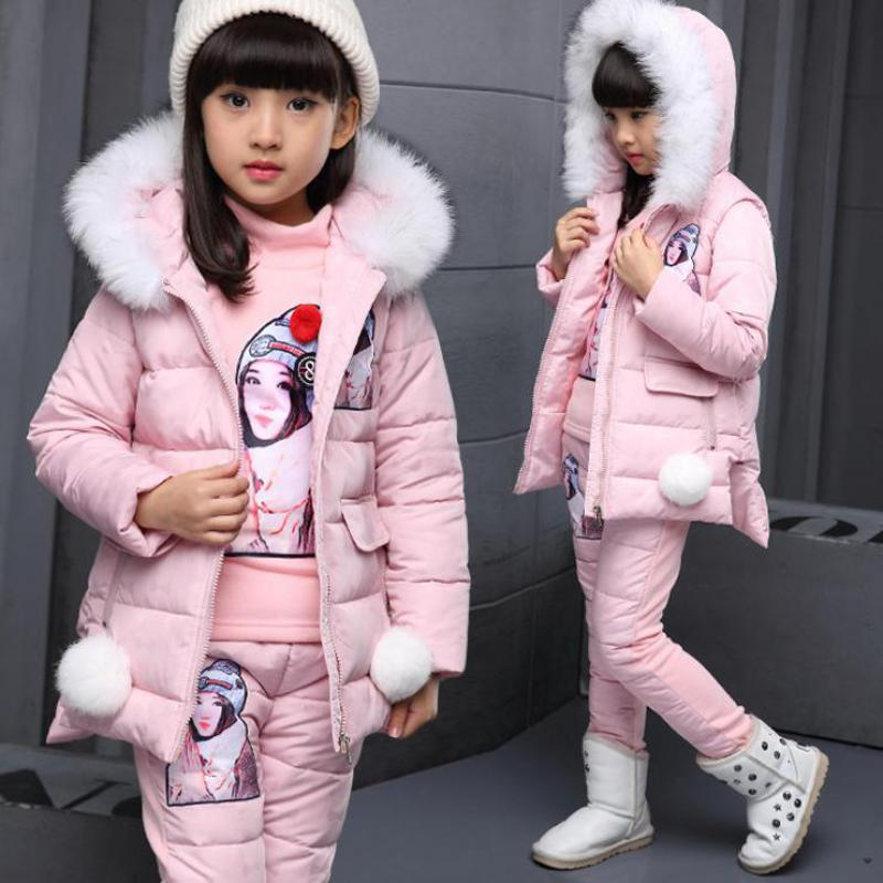 2017 Girls Clothing Set Winter Sport Suit Girls Clothes Children Clothing Set Tracksuit For Girl Coat + Sweatshirts + Pants 3pcs winter girl clothing set kids clothes brand children clothing sport suit tracksuit toddler girls coat pants roupa de menina