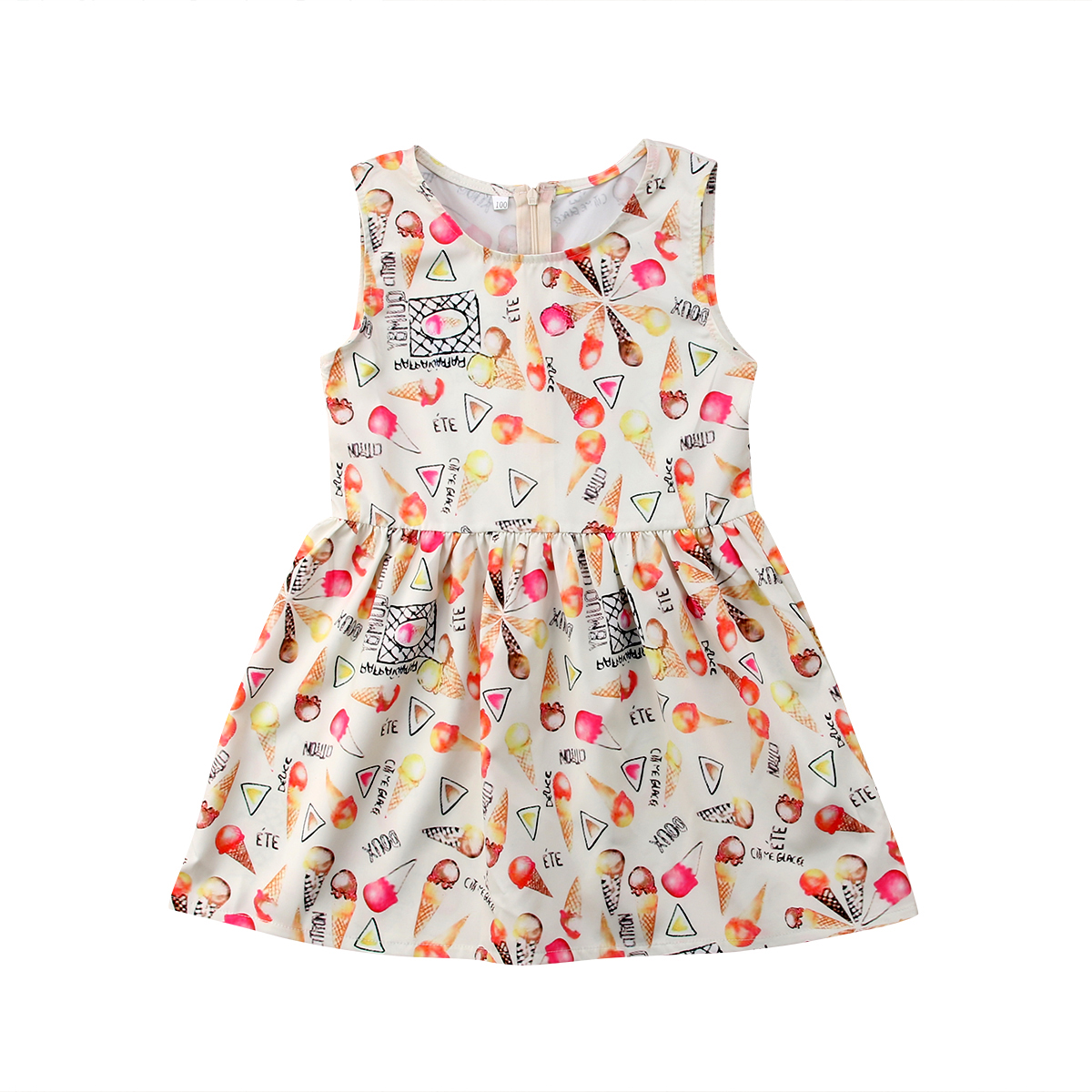 Toddler Kids Baby Girls Summer Icecream Sleeveless Princess Dress Girls Outfits Clothes