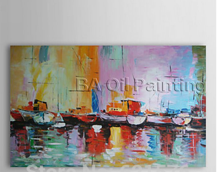Hand-painted big size modern wall art picture modern abstract Sailing <font><b>boat</b></font> Thick color <font><b>knife</b></font> seascape oil painting on canvas image