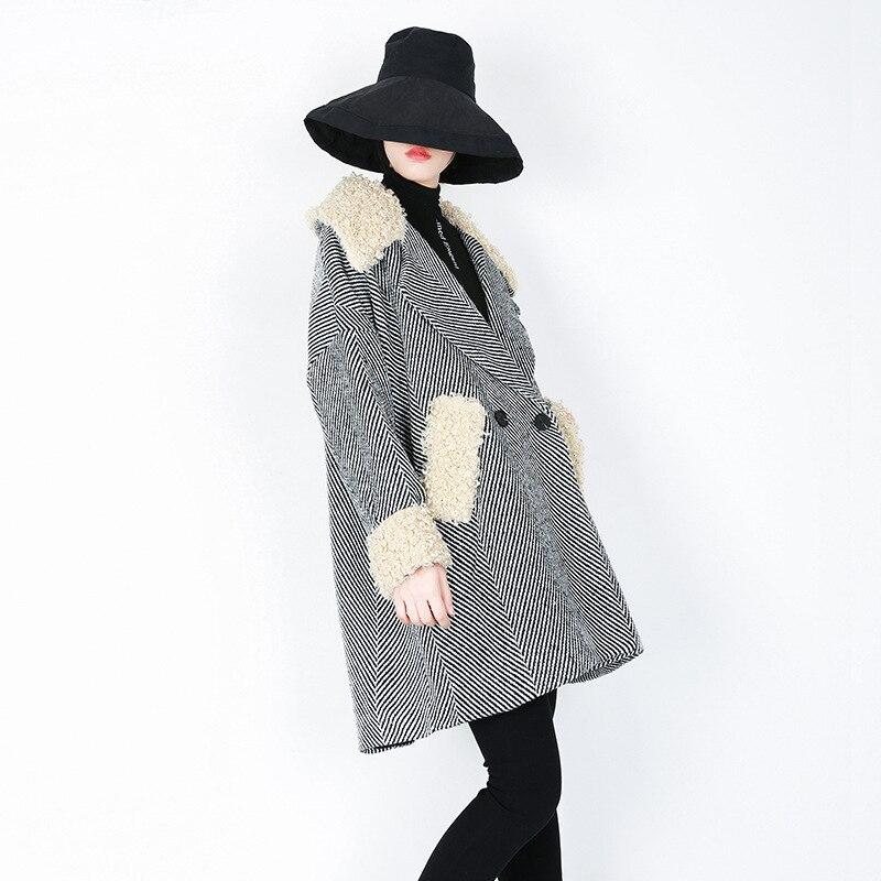 8xl Automne Manteau La Mode Femmes Rayé Noir Veste 7xl Taille Surdimensionné Arcsinx Femelle 5xl De Mélange Plus Hiver SB06xFIqwn