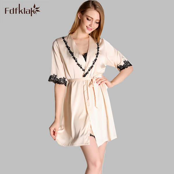 Women Long Silk Robe Sexy Lingerie Gown Robe Set Dressing Gown Pink
