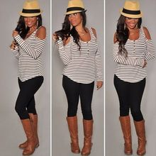 New Fashion Womens Ladies Casual Loose Long Sleeve Off Shoulder Stripe T shirt Tops