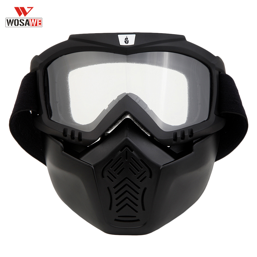 WOSAWE Skiing Goggles Detachable Mouth Filter Perfective Open Face Motorcycle Half Helmet Windproof Waterproof Sunglasses