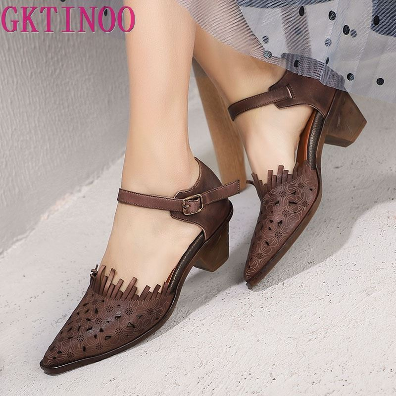 GKTINOO Original 2019 Spring and Summer New Pointed Toe Thick Heels Women Sandals Genuine Leather Retro