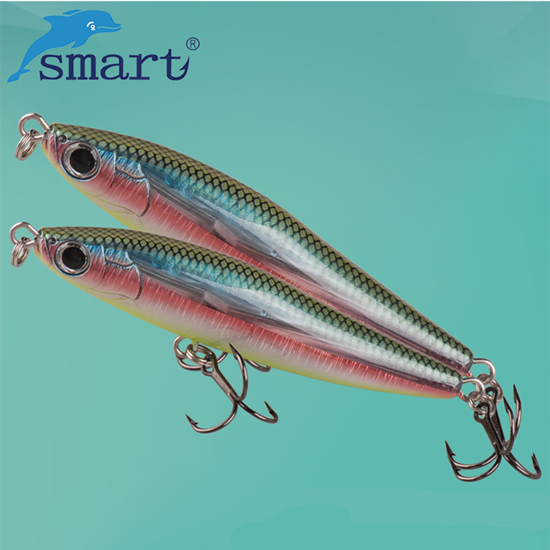 SMART Pencil Bait 80mm/21.3g Sinking Hard Fishing Lure VMC Treble Hook Isca Artificial Para Pesca Leurre Souple Fishing Wobblers noeby nbl9062 fishing lures 66g 140mm pencil sinking leurre peche mer brochet hard fishing bait