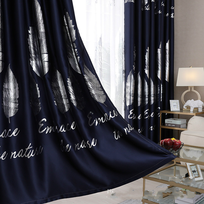 Modern Simple Curtains Silver Leaves Gold Leaves Blackout Curtains for Living Room Curtains     - title=