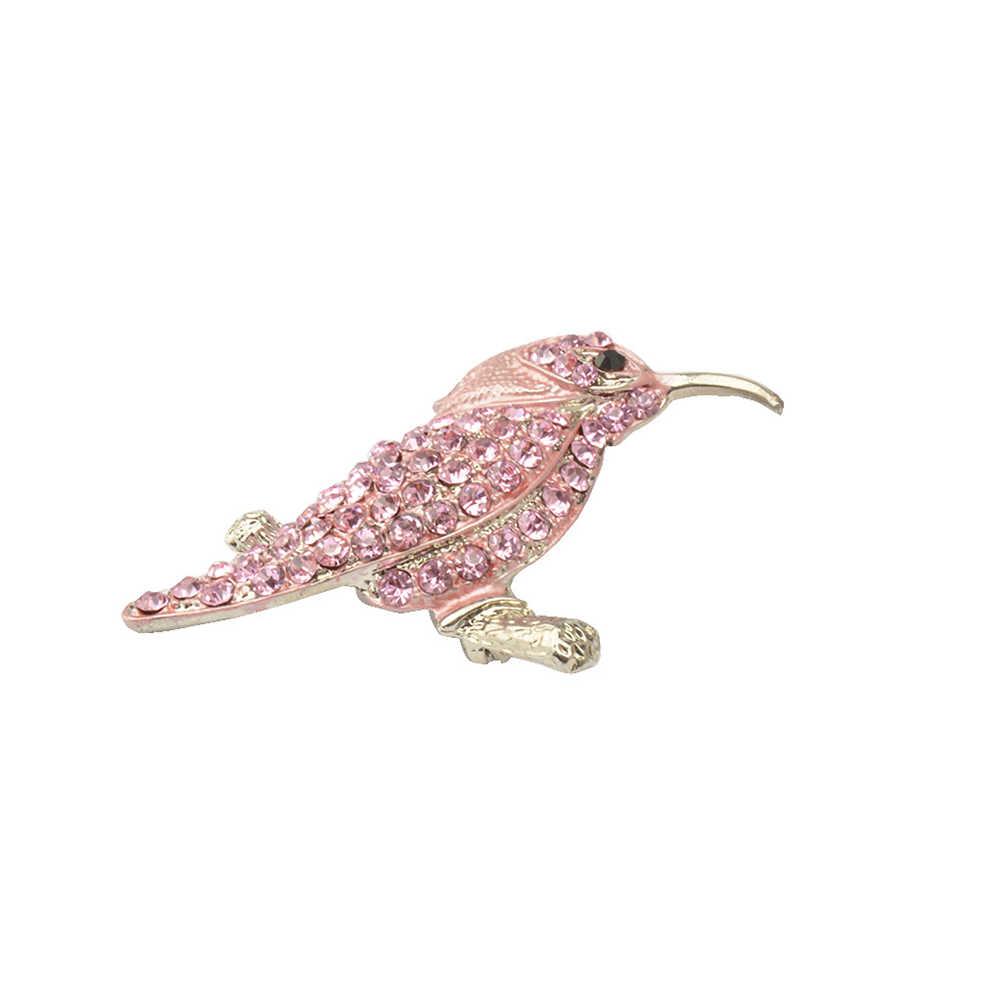 Hewan Hummingbird Bros Berlian Imitasi Bros Kristal Bros Pin Bros (Pink)