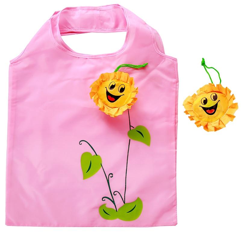 2019Sun Flower Hot Creative Environmental Storage Bag Handbag Foldable Shopping Bags Reusable Folding Grocery Nylon Eco Tote Bag