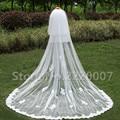 2017 Graça Três-Camada Véus De Noiva Borda do Corte Lace Apliques Ruffles Elegante Adulto Branco ocasião Do Casamento Véus de Noiva Com Bob