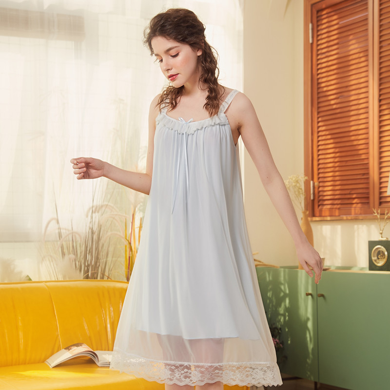 Court Women Summer Sexy LIngerie Nightdress V-Neck Mesh Lace Nightwear Nightgrown Robes Spaghetti Strap Sleepwear Home Clothes