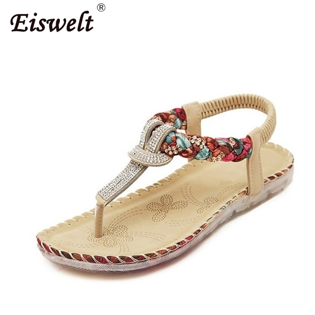 EISWELT Women Sandals Summer Casual Bohemia Women Shoes New Fashion Beach Sandals Solid Women Flip Flops