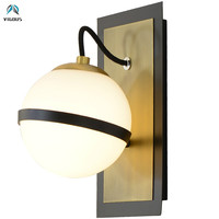 New Arrival Retro Brush Gold E27 Led Wall Lamp Glass Ball Shades Led Wall Sconces Corridor Lustre Luminarias Bracket Light