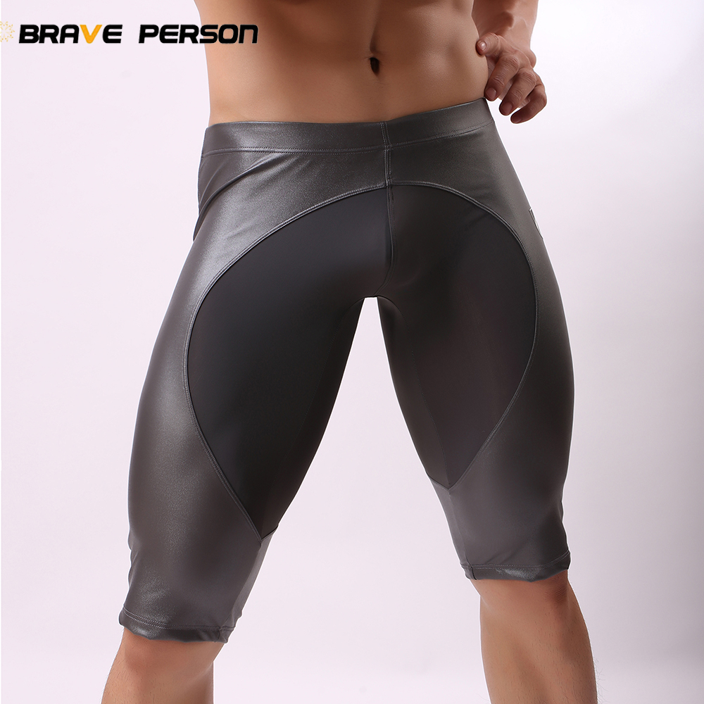 BRAVE PERSON 2018 New Imitation Leather Men's   Board     Shorts   Tight Swimsuit Men High Quality Knee Length   Shorts   Trunks Fitness