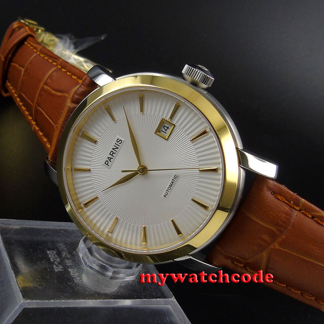 41 мм Parnis белый циферблат золотой ободок сапфир Стекло Автоматическая Мужские часы 589B