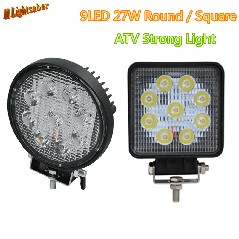 2pcs 4 Inch 27W LED Work Light for Indicators Motorcycle Driving Offroad Boat Car Tractor Truck 4x4 SUV ATV Strong light 12V-30V