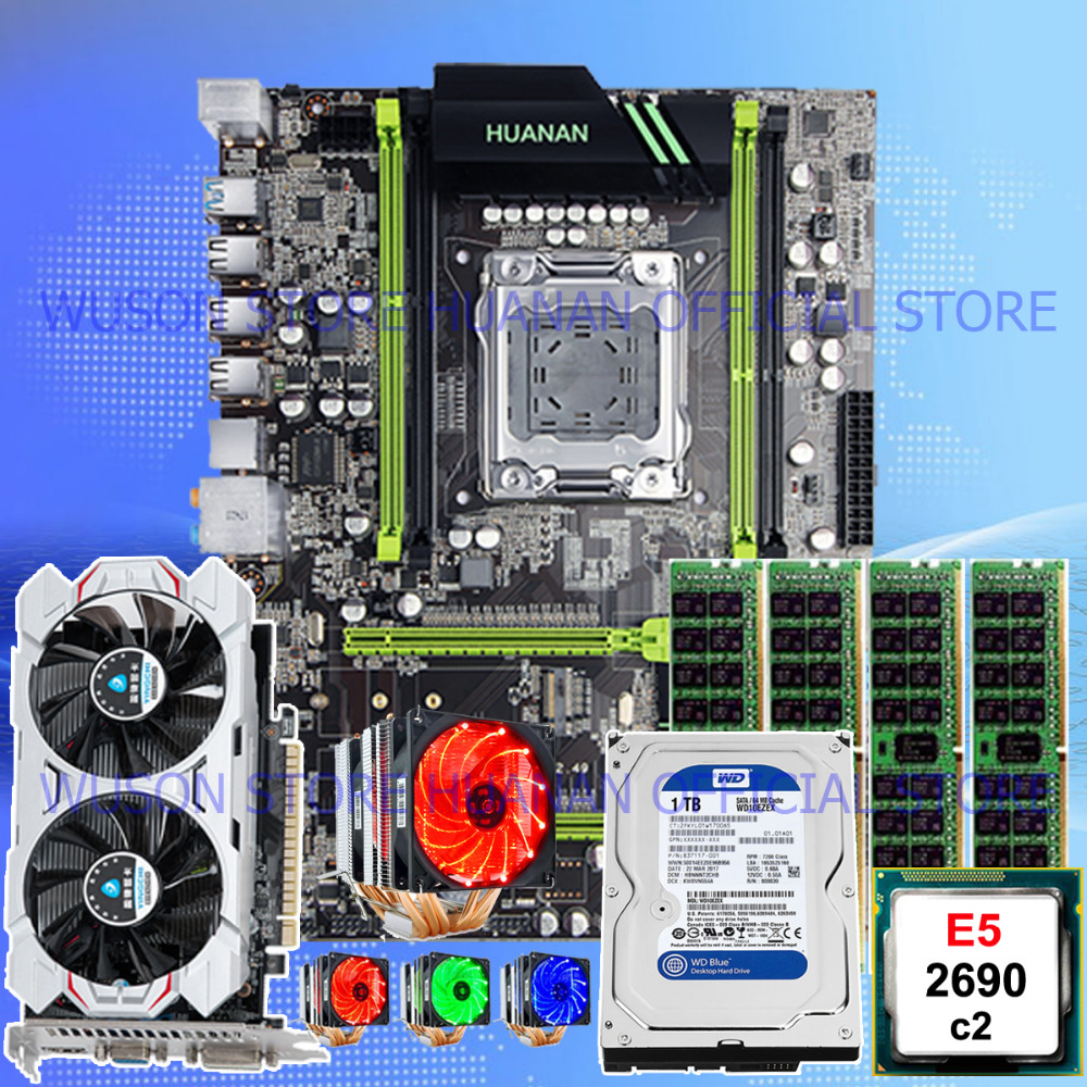 On sale HUANAN ZHI X79 motherboard with CPU Xeon E5 2690 C2 with cooler RAM 16G(4*4G) 1TB 3.5' SATA HDD video card GTX750Ti 2G