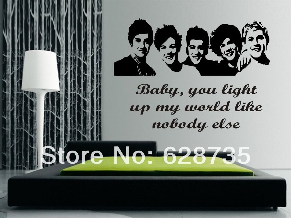 Large size 100x57cm One Direction 1D vinyl teen bedroom art mural wall  decals stickers paper,
