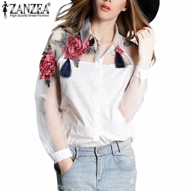 Zanzeaファッションblusas 2017夏エレガントな女性ブラウス花刺繍ヴィンテージシャツオーガンジー袖トップスプラスサイズs-3xl