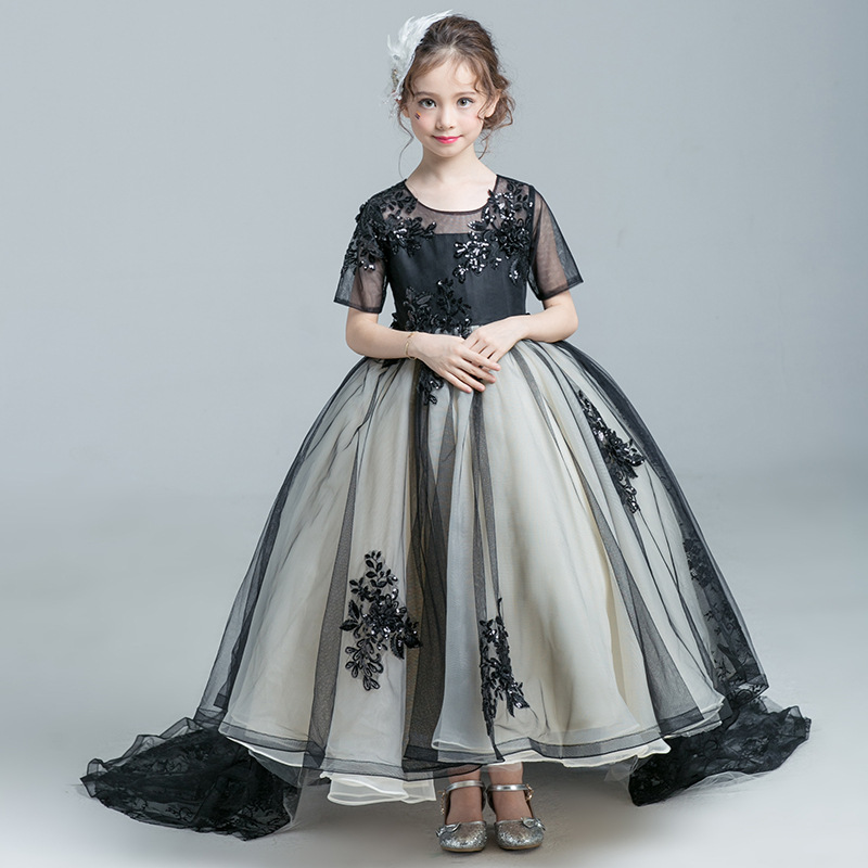 Ball Gown Tulle Flower Girls Dress Black Princess Party Baby Kids Tutu Dress Children Pageant Birthday Dresses with Tail D47 kids girls flower dress baby girl butterfly birthday party dresses children fancy princess ball gown wedding clothes