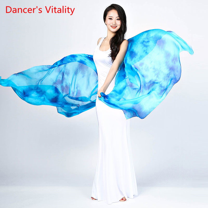 Personalized Belly Dancing Silk Veils Hand Throwing The Shawl Of The Yellow Scarf Red Blue Black Gradient Free Shipping