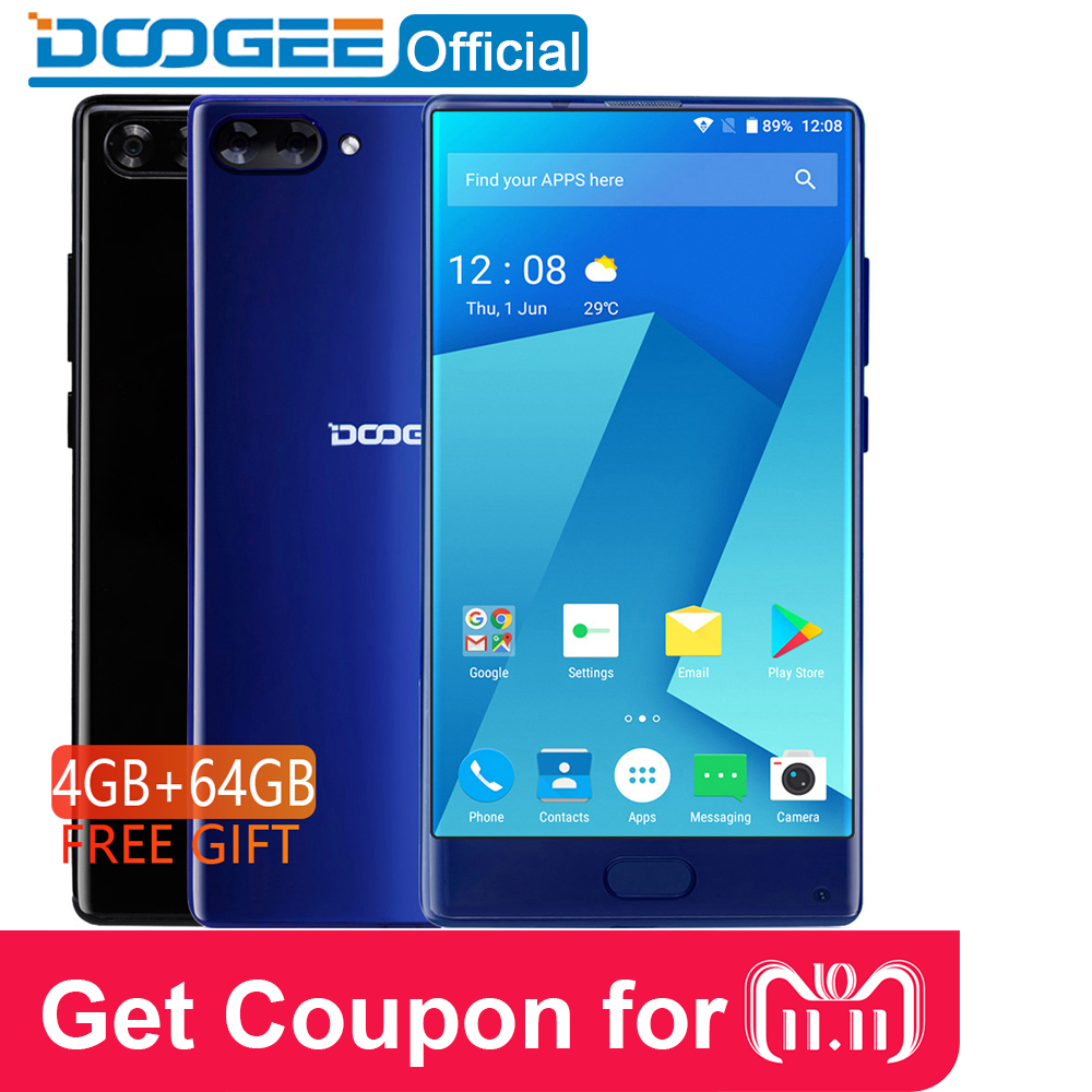"""В наличии DOOGEE MIX 4 ГБ + 64 ГБ ободок-менее смартфон Dual Камера 5,5 """"AMOLED MTK Helio P25 Восьмиядерный мобильные телефоны Android 7"""