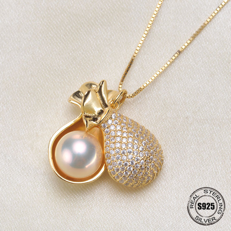 Fashion S925 Silver Pearl Necklace Pendant Woman DIY Accessories Semi finished Parts Fittings Mountings Products Jewelry Making