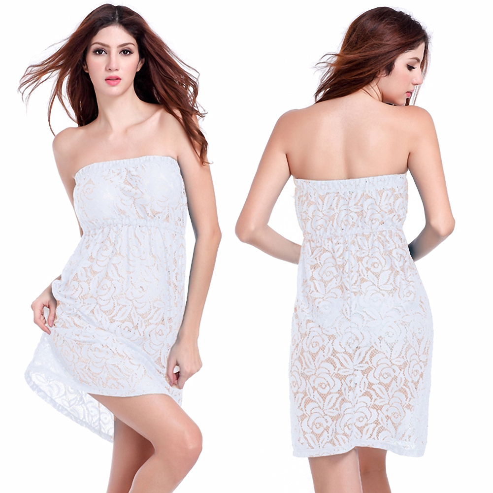 Arenaning Queen Matches Bikini Feminine Tube Sexy Strapless Beach Dress Big Large Women Loose Plus Size Lace Cover Up
