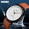 SKMEI новые топ роскошные часы мужские Брендовые мужские часы водонепроницаемые кожаные кварцевые наручные часы модные повседневные часы ...