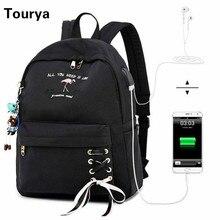 Tourya Anti Diefstal Vrouwen Rugzak Usb Charge Oortelefoon Gat Schooltassen Voor Meisjes Laptop Rugzak Reizen Rugzak Bookbags Mochila