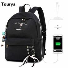Tourya Anti Theft ผู้หญิงกระเป๋าเป้สะพายหลัง USB ชาร์จหูฟังโรงเรียนกระเป๋าสำหรับสาวกระเป๋าเป้สะพายหลังแล็ปท็อป Bagpack Mochila