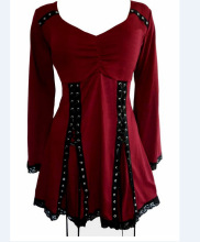 Stylish Long Sleeve Lace Spliced Women s Blouse Victorian Gothic Renaissance Corset shirt Top plus size