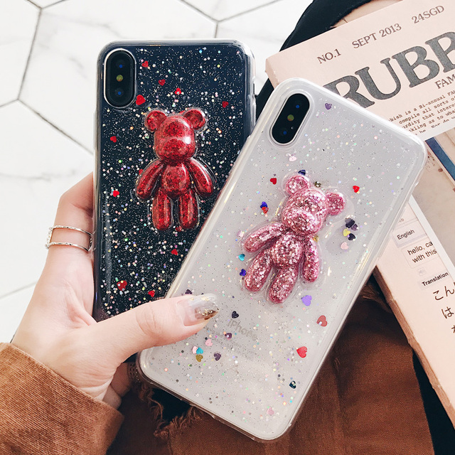 newest 5bcb7 72cbf US $4.99 |Cute bear For iPhone 8 8plus case, full soft back cover case for  iphone X 7 7plus 6splus clear heart Glitter pink girl case-in Fitted Cases  ...