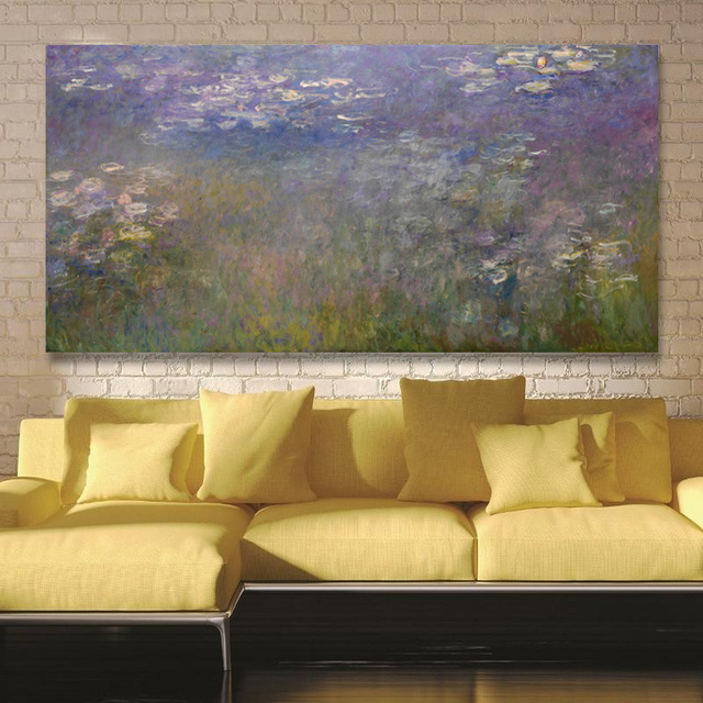 Claude Monet Water Lily Oil Painting Canvas Printings HD Print Home ...