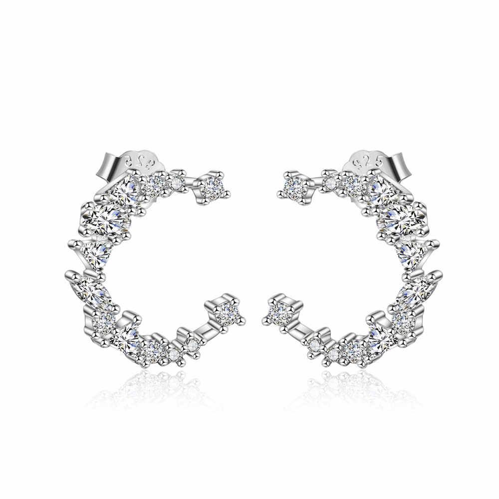 100% 925 пробы серебро Луна CZ сережки-шпильки оптом семь звезд ухо клип серебро Vnistar кубический цирконий серьги