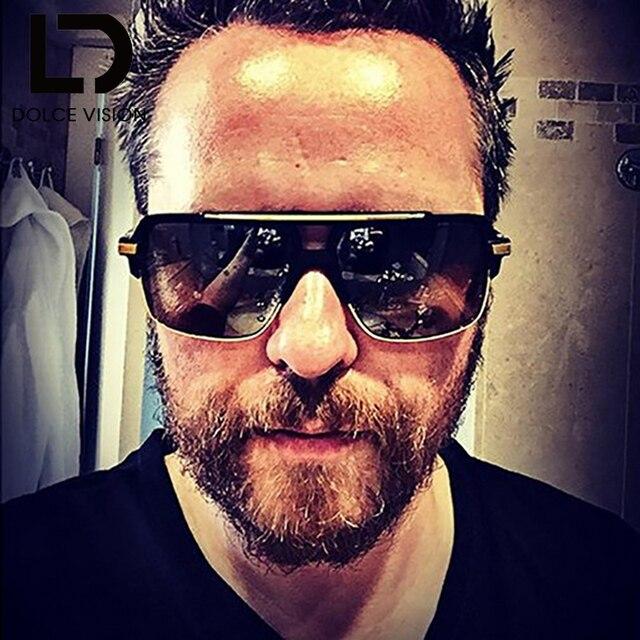 ed904b4ca56 DOLCE VISION Luxury Sunglasses Men Vintage Designer Square Gradient Male  Sun Glasses Metal UV400 Oculos Double Bridge Eyewear