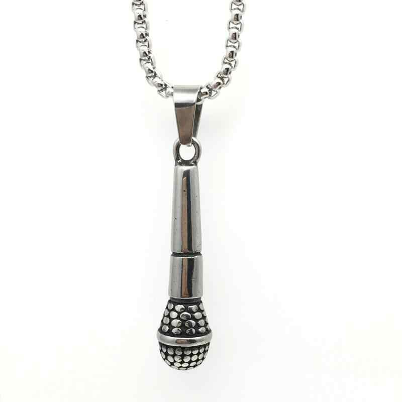 Новый кулон «микрофон» ожерелье модное серебряное золотое ожерелье s Высококачественный хип-хоп ювелирные изделия из нержавеющей стали для женщин и мужчин