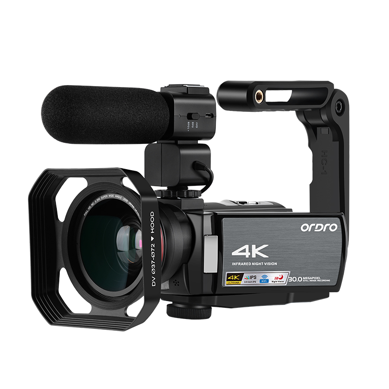 Cámara de vídeo Ordro WIFI AE8 4K Digital Full HD pantalla táctil IR infrarroja cámara de visión nocturna videocámara fotográfica Profesional