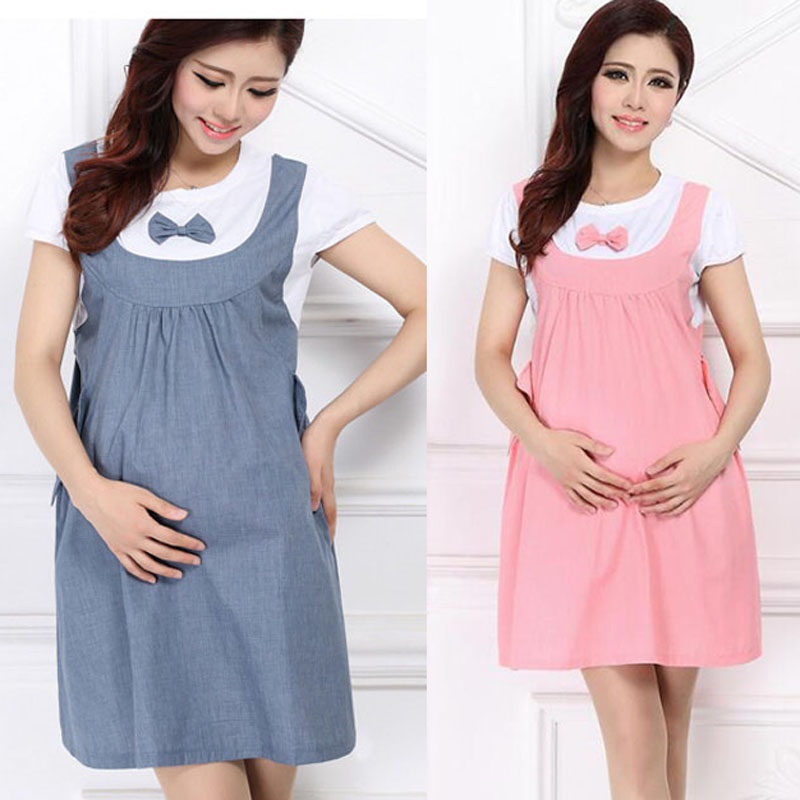 Summer maternity clothing maternity dress fashion one-piece dress faux two piece maternity braces skirt for pregnant women BB06 貓 帳篷