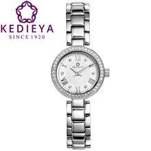 KEDIEYA Женщин Роскошные 46 Циркон Алмаз Сапфировое Стекло Водонепроницаемый Швейцария Ronda 762 Кварцевые Часы Подарок