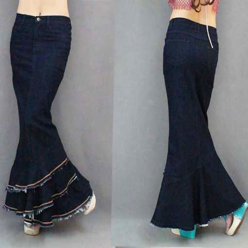 Popular Long Stretch Denim Skirt-Buy Cheap Long Stretch Denim ...