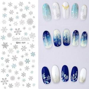 Image 1 - 1 arkusz motyw świąteczny kalkomanie do paznokci woda zimowa naklejki do przenoszenia płatków śniegu Xmas Deer Nail Art Slider tatuaż naklejany dekoracja