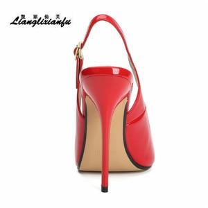 Image 3 - LLXF zapatos mujer 13 cm dünne heels Stiletto Pumps schuhe frau kleid Pantent Leder Sandalen Peep Toe Cosplay pumpen US16 17