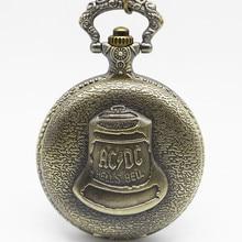 Antique Steampunk ACDC Hells Bell Quartz Pocket Watch Necklace Pendant Retro Men Women Xmas Birthday Gift #121304