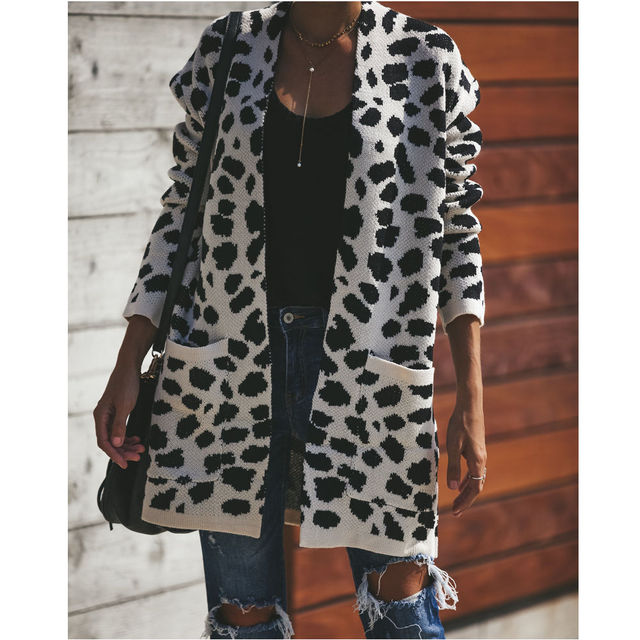 cab3fe04764 2018 New Fashion Long Cardigan Sweater Women Leopard Print Loose V neck  Pockets Sweaters Cardigans Women Knitwear Winter Tops on Aliexpress.com |  ...
