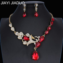 Jiayijiaduo Bridal Pernikahan Perhiasan Set/Peacock Kalung Anting-Anting Set untuk Wanita Mulia 'S Jewelry/3 Warna Ne + EA(China)