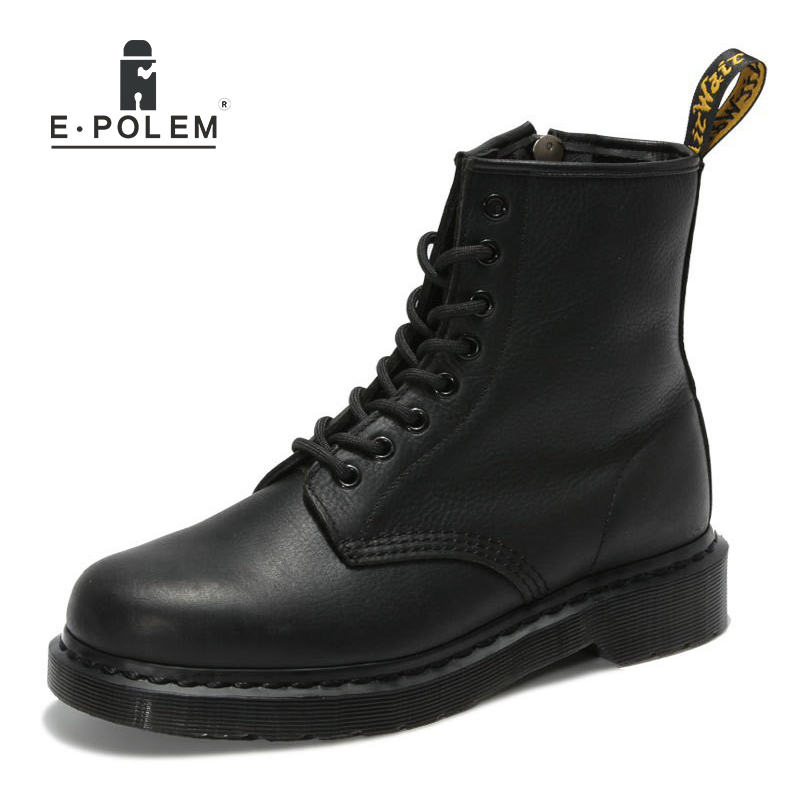 England Style Tide Fashion Black Genuine Leather Martin Boots Unisex Brand Motorcycle High Help Ankle