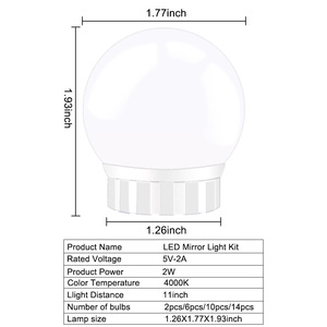 Image 3 - USB 5V LED 化粧鏡電球 2 6 10 14 電球キットタッチ調光ドレッシングテーブルハリウッド化粧台光ミラー電球